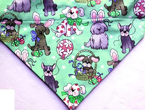 Easter Eggs Blue Green Flowers Over Collar Slide On Pet Dog Bandana Scarf