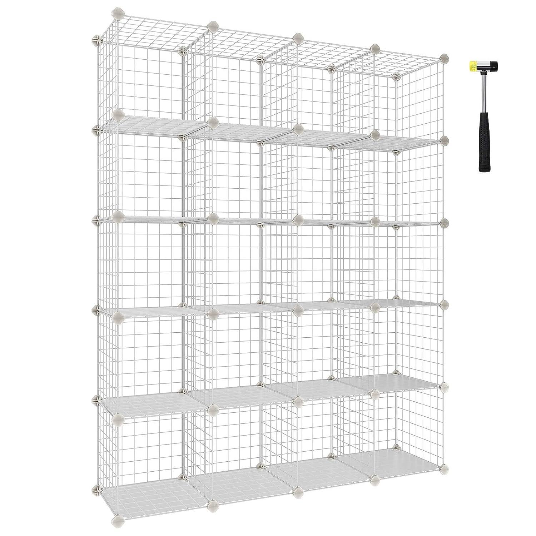 "SONGMICS Wire Cube Storage, 20-Cube Modular Rack, Storage Shelves, PP Plastic Shelf Liners Included, 48.4"" L x 12.2"" W x 60.2"" H White ULPI45W"