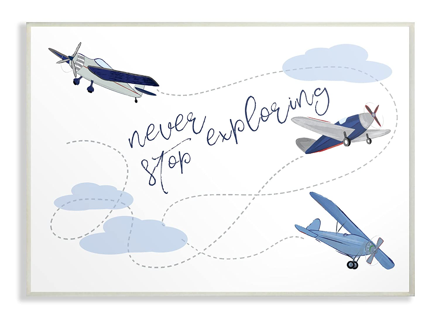 The Stupell Home Decor Collection Never Stop Exploring Airplanes Wall Plaque Art, Multicolor