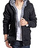 LemonGirl Mens Thick villus Jacket Padded Knitted Casual Sweater Cardigan Outerwear Coat