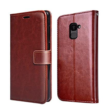 official photos 3304a b4224 XORB Samsung Galaxy A8 Plus Flip Cover Leather Case Premium Luxury Revel  Touch Leather Cover for Samsung Galaxy A8+ Brown