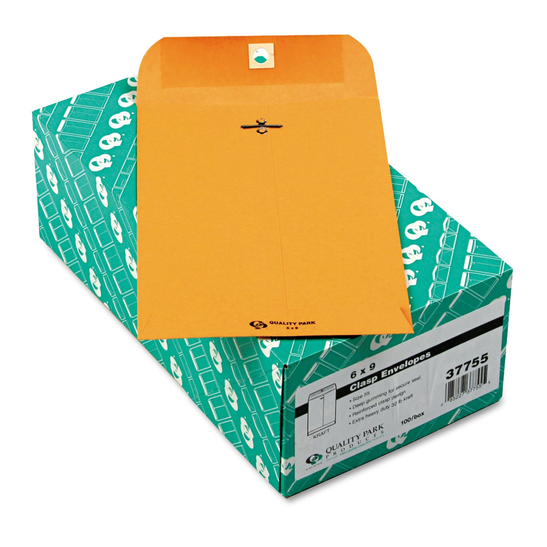 Quality Park 37755 Clasp Envelope, 55, 6 x 9, 32 lb, Brown Kraft, 100/Box