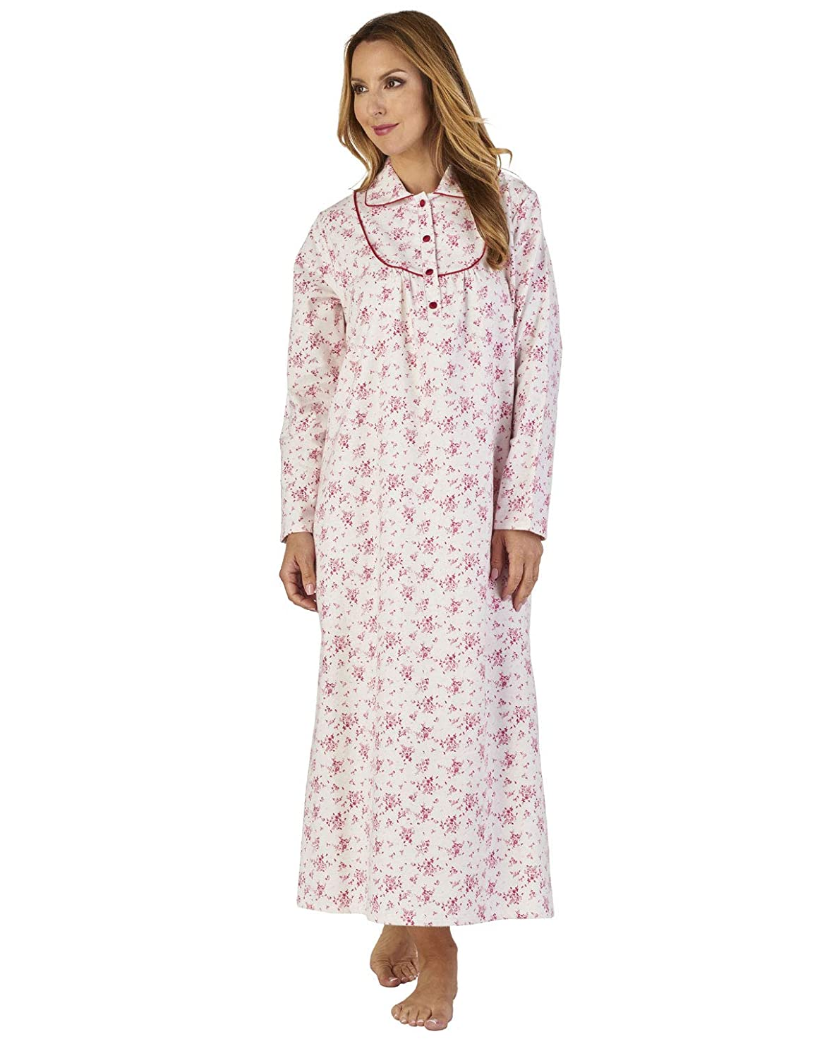 Slenderella ND2212 Women's Luxury Flannel Floral Loungewear Nightdress