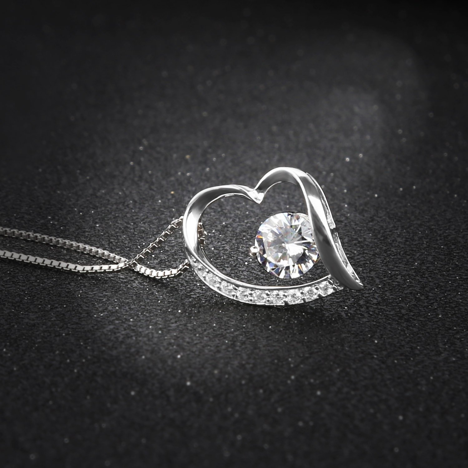 Pealrich 925 Sterling Silver Forever Love Heart Diamond Pendant Necklace