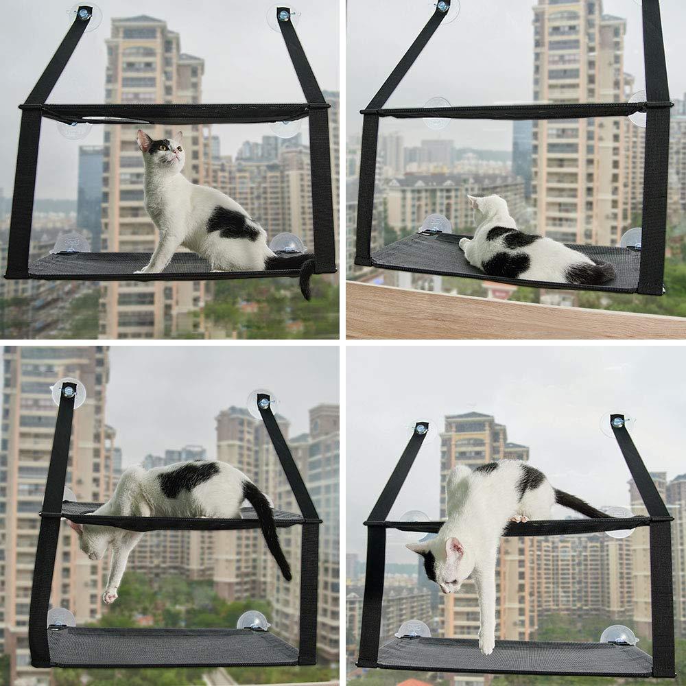 PUPPY KITTY Hamaca para Ventana de Gato Cama Colgante de 6 Ventosas Resistentes para 2 Gatos Capacidad de hasta 15 kg Ahorro de Espacio Negra