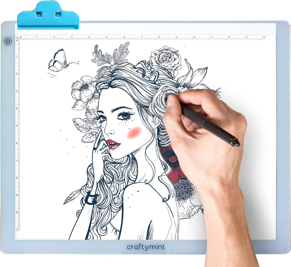 Craftymint Large Ultra Thin 19'' LED Light Pad - Portable USB Powered - Multi-Stage Brightness Provides Clarity and Reduces Eye Strain - Perfect for Diamond Painting, Drawing, Sketching and Tracing