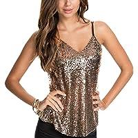 VERO VIVA Women's Sequin Spaghetti Strap Tank Tops V-neck Backless Summer Vest