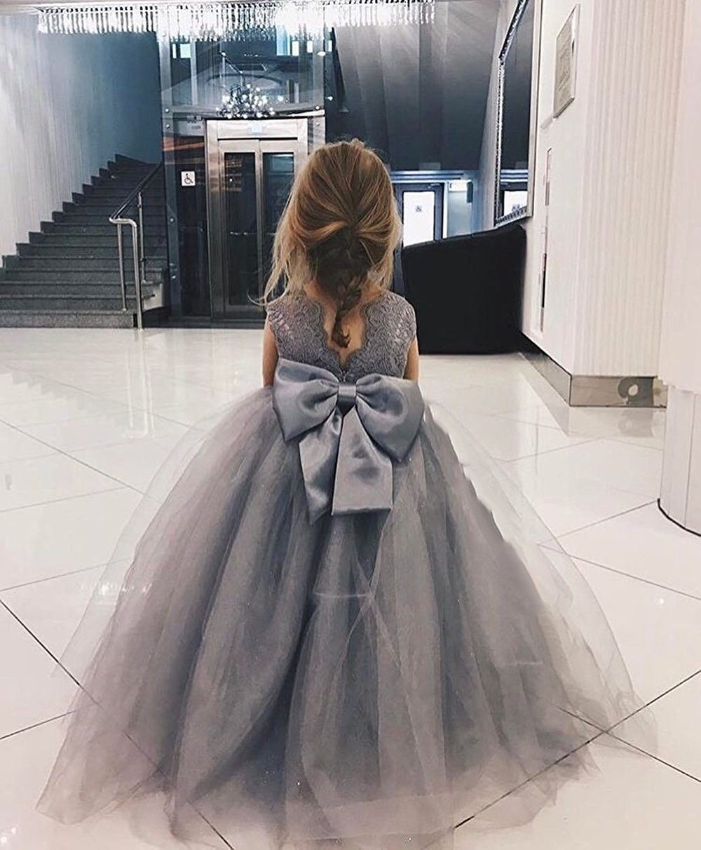 Banfvting Grey Ball Gown Flower Girl Dresses with Lace Bow by Banfvting (Image #2)