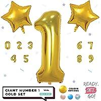 READYSETGO! 40 Inch Gold Number 1 Balloon Birthday Decoration, Birthday Banner, Birthday Balloon, Number Balloon, Helium Balloon, Balloon Set, Balloons