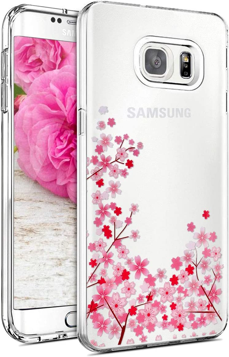 Pink Cherry Blossom Pattern Ultra Thin Clear Silicone Case Scratch Resistant Anti-Shock Protective Case for Samsung Galaxy S6-#1 JAWSEU Galaxy S6 TPU Silicone Transparent Case Galaxy S6 Case