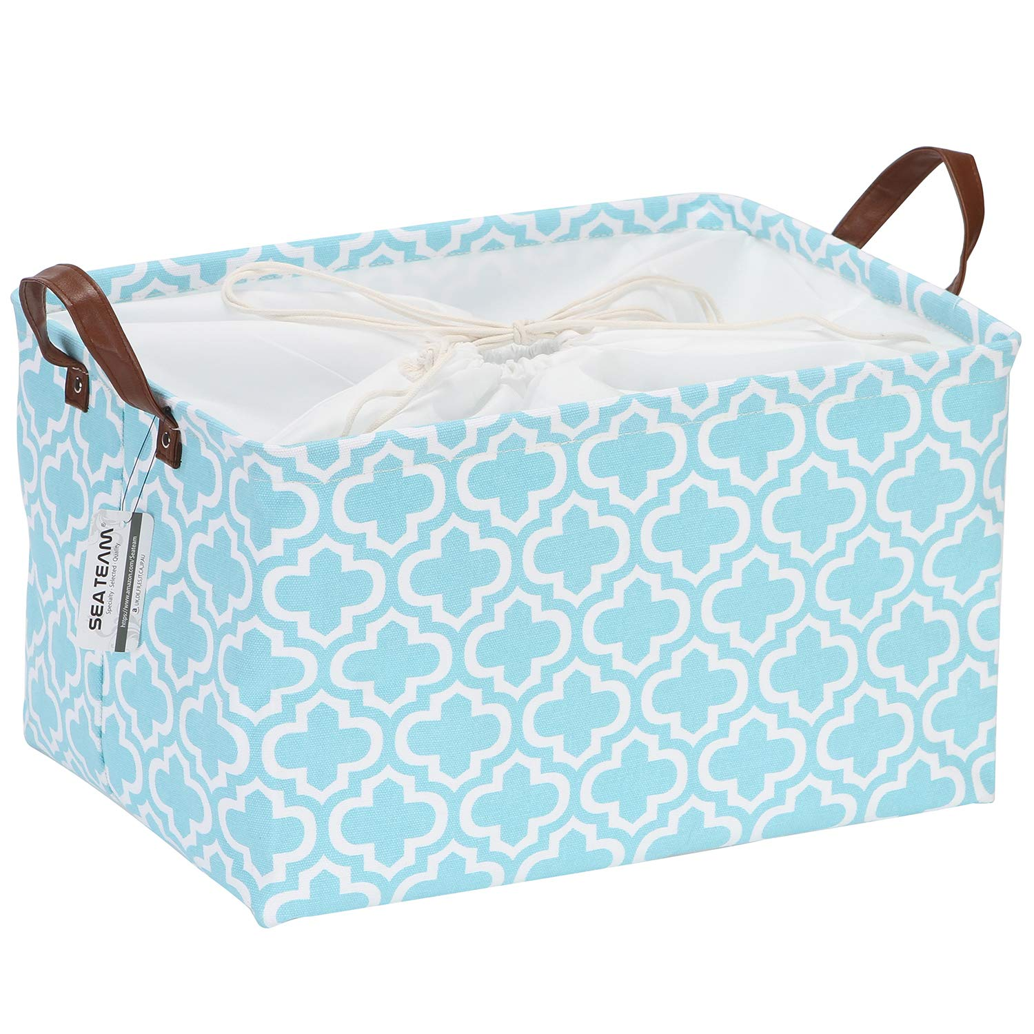 Sea Team Moroccan Quatrefoil Pattern Canvas Fabric Storage Basket Collapsible Geometric Design Storage Bin with Drawstring Cover and PU Leather Handles, 16.5 by 11.8 inches, Waterproof Inner, Aqua