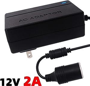 iSaddle 110V AC to DC 12V 2A Power Converter - 100V-250V AC Wall Plug to 12V DC Car Cigarette Lighter Socket Transformer for Car GPS Dash Cam FM Transmitter Razor Cell Phone Charger Power Supply 24W