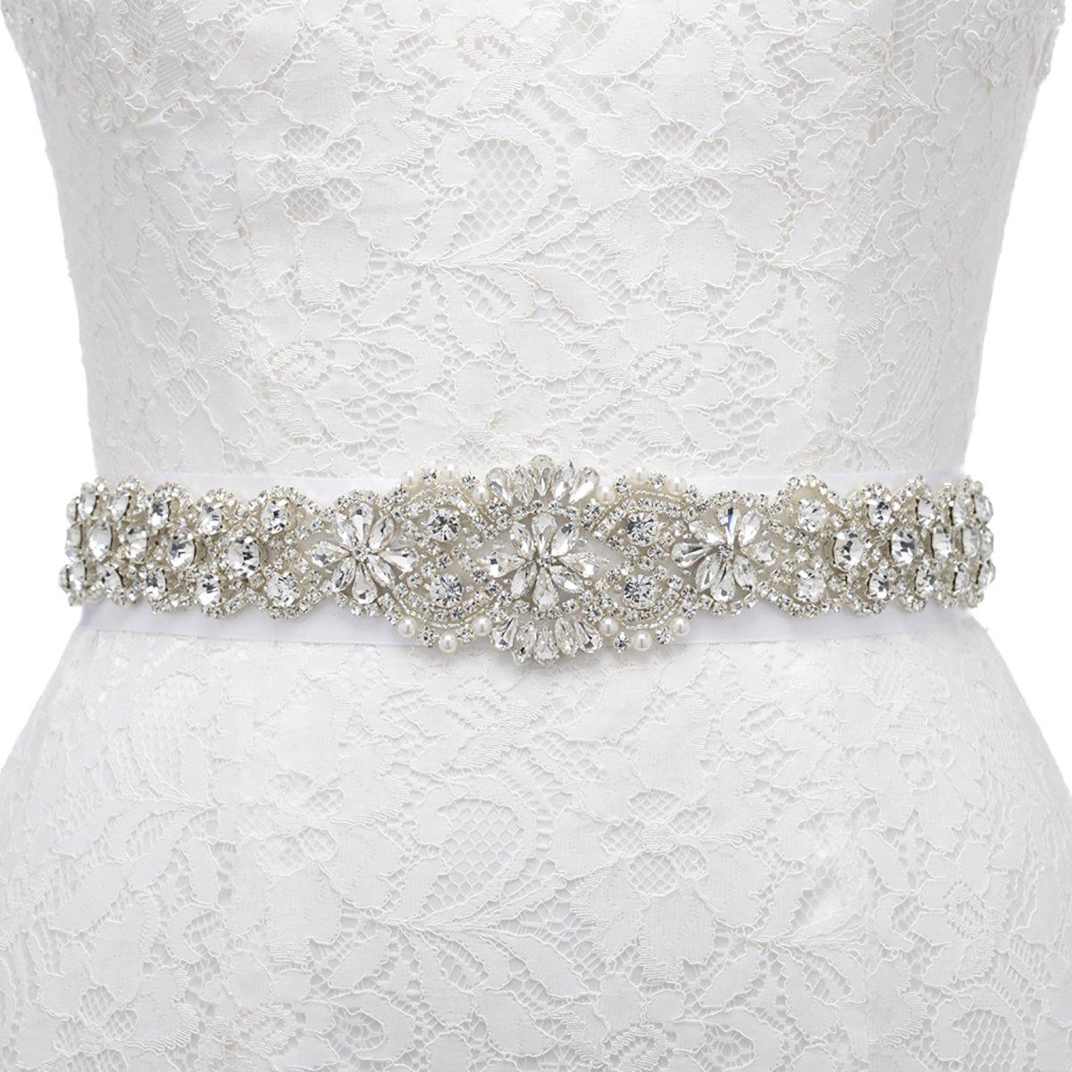 Remedios Sparkling Rhinestone Satin Ribbon Sash Belt for Bride Bridesmaid Dress ,White