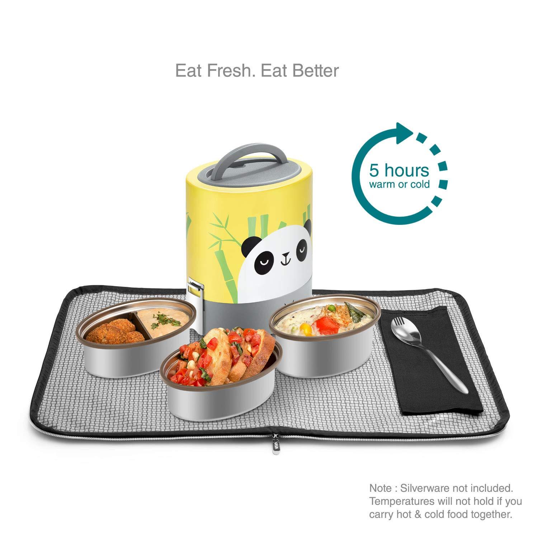 Contenitore per il pranzo con borsa in acciaio INOX 100 ml per adulti e bambini ecologico 100/% senza BPA Vaya Tyffyn 1000 3 contenitori