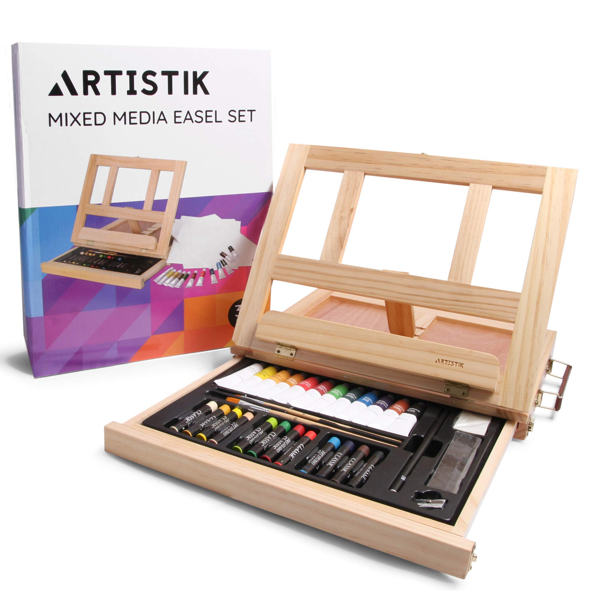 Mixed Media Art Set - Complete Easel Painting Kit with Wood Table Desk Top Easel Box Includes Acrylic Paints, 3 Canvas Boards, Pastels, Desktop Art Supplies Gift for Beginner Artists, Kids, Adults by Artistik