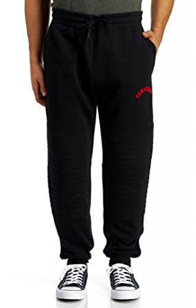 d30069f78c8e Converse Quilted Panel Jogger Bottoms Black Red - XL (36in)  Amazon.co.uk   Clothing