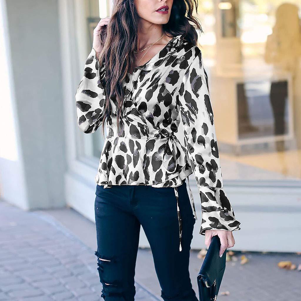 DORIC 2019 New Girls Womens Tops Blouse V-Neck Leopard Drawstring Flare Long Sleeve Tie Shirt