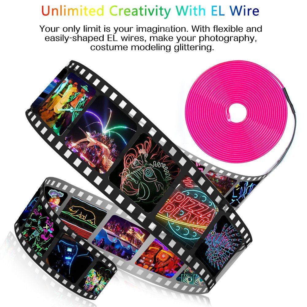 Neon Lights Portable Neon Glowing Strobing Electroluminescent Wire with Battery Pack Zitrades EL Wire Pink 15ft