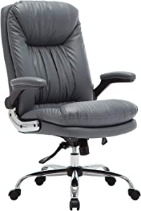 YAMASORO Ergonomic Executive Office Chair - Adjustable Tilt Angle and Flip-up Arms High-Back PU Leather Computer Chair Big for Man and Women Gray