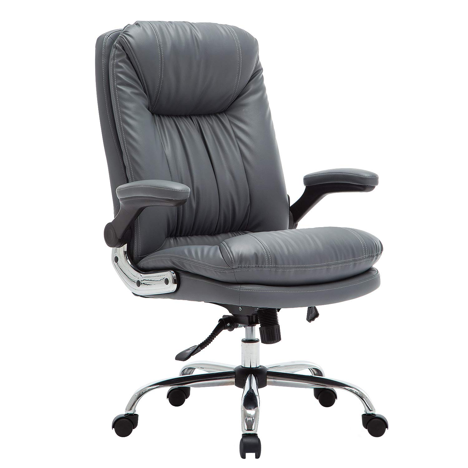 YAMASORO Ergonomic Executive Office Chair - Adjustable Tilt Angle and Flip-up Arms High-Back PU Leather Computer Chair Big for Man and Women Gray by YAMASORO