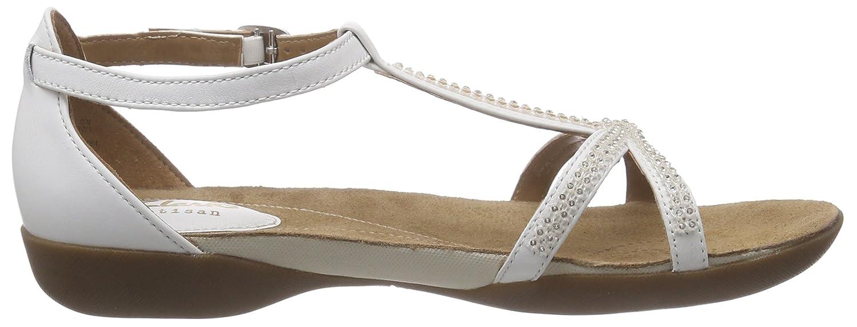 Clarks Raffi Star, Damen T-Spangen Sandalen, Weiß (White Leather), 41 EU (7 Damen UK)