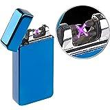 PEARL Sturmfeuerzeug: Elektronisches Feuerzeug mit Doppeltem Lichtbogen, Akku, USB, Blau (Allwetter-Feuerzeug)