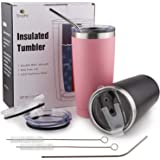 Sivaphe 20 oz Stainless Steel Tumblers (2 Pack) with 4 Splash Proof Lids, 2 Straws and 2 Brushes, Double Wall Vacuum Insulated Coffee Travel Mug (Black & Pink)