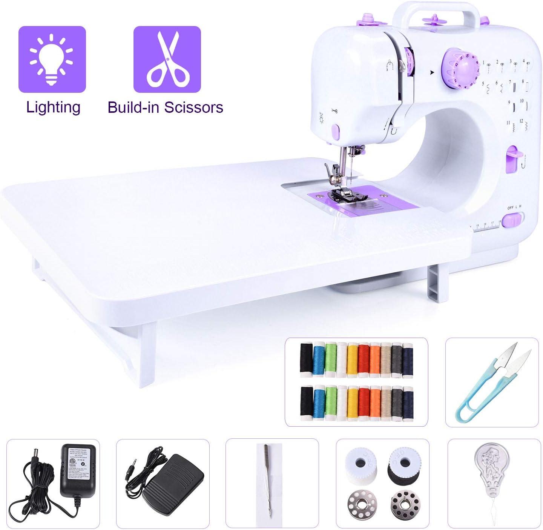 Máquina de coser eléctrica portátil con mesa de extensión, 12 ...