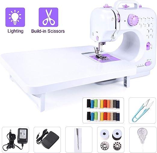 Máquina de coser eléctrica portátil con mesa de extensión, 12 puntadas integradas para aficionados principiantes, carretes de 20 hilos compartidos: Amazon.es: Hogar