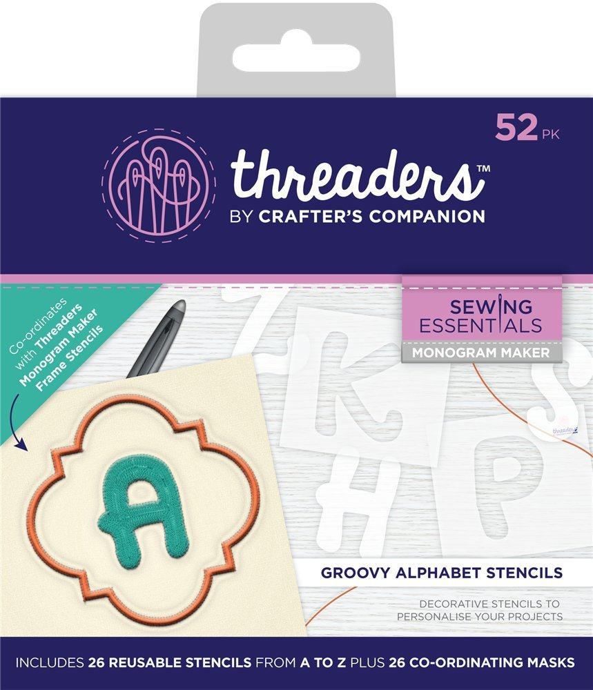 Threaders Monogram Maker-Groovy Alphabet Templates, Various Size Crafter's Companion TH-1347