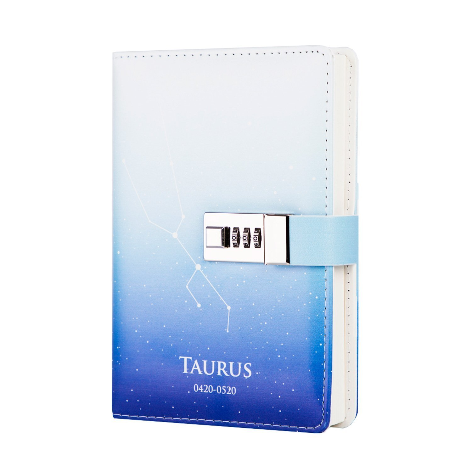ToiM 12 Constellations PU Leather Journal Writing Notebook Daily Notepad with Combination Lock, B6 Password Diary (Taurus) by ToiM (Image #1)