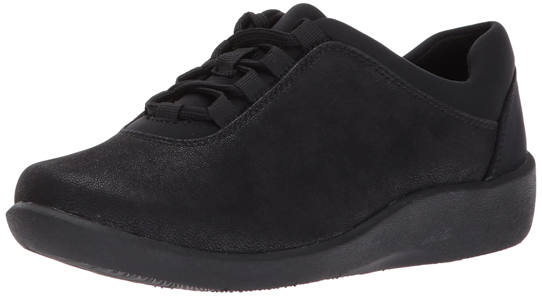 CLARKS Women's Sillian Pine Walking Shoe B01NBKAD64 10 W US|Black Synthetic