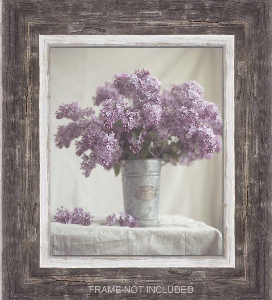 Lilac Cottage Decor, Rustic Wall Art, Canvas, Farm Art, Lavender Fixer Upper, Floral Shabby, Bathroom, Purple, Wood Photo Planks