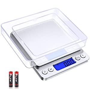 Diyife Digital Food Kitchen Scale 500g/0.01g, High Precision Electronic Scale, Multifunction Scale, Stainless Steel Platform, for Diet, Baking, Postage, Jewelry, Medicinal Herbs (Batteries Included)