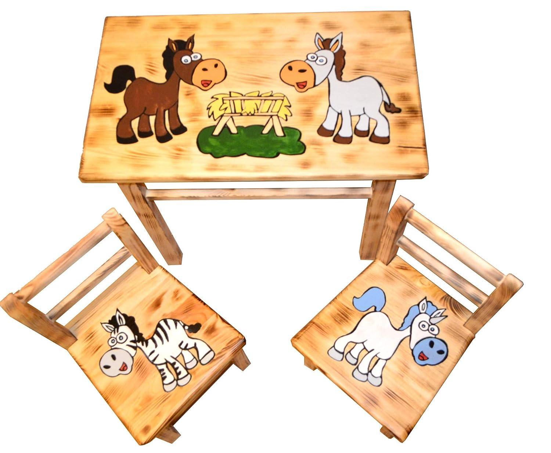 Tolle Sitzgruppe für Kinderzimmer Tisch+2 Stühle Kinder Kieferholz Pferde  (Pferde - old look)