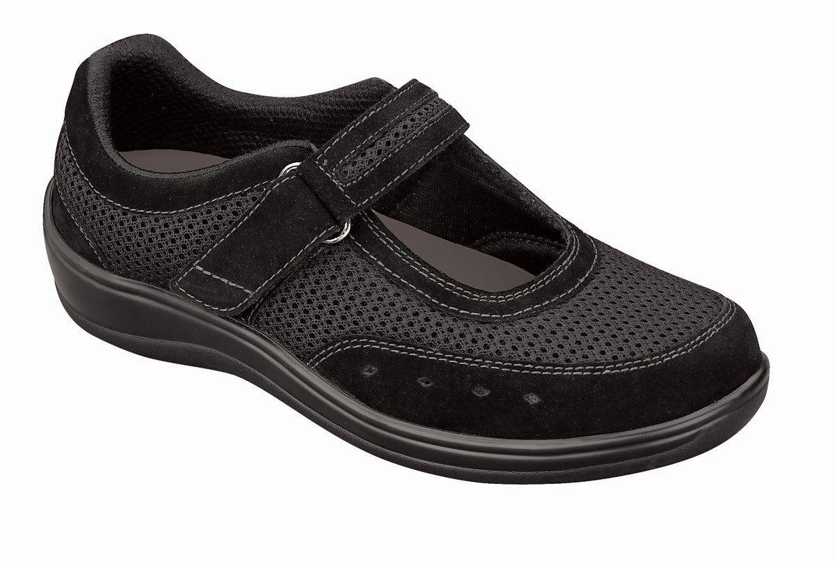 Orthofeet 851 Women's Comfort Diabetic Therapeutic Extra Depth Shoe Black 8.5 Wide (D) Velcro