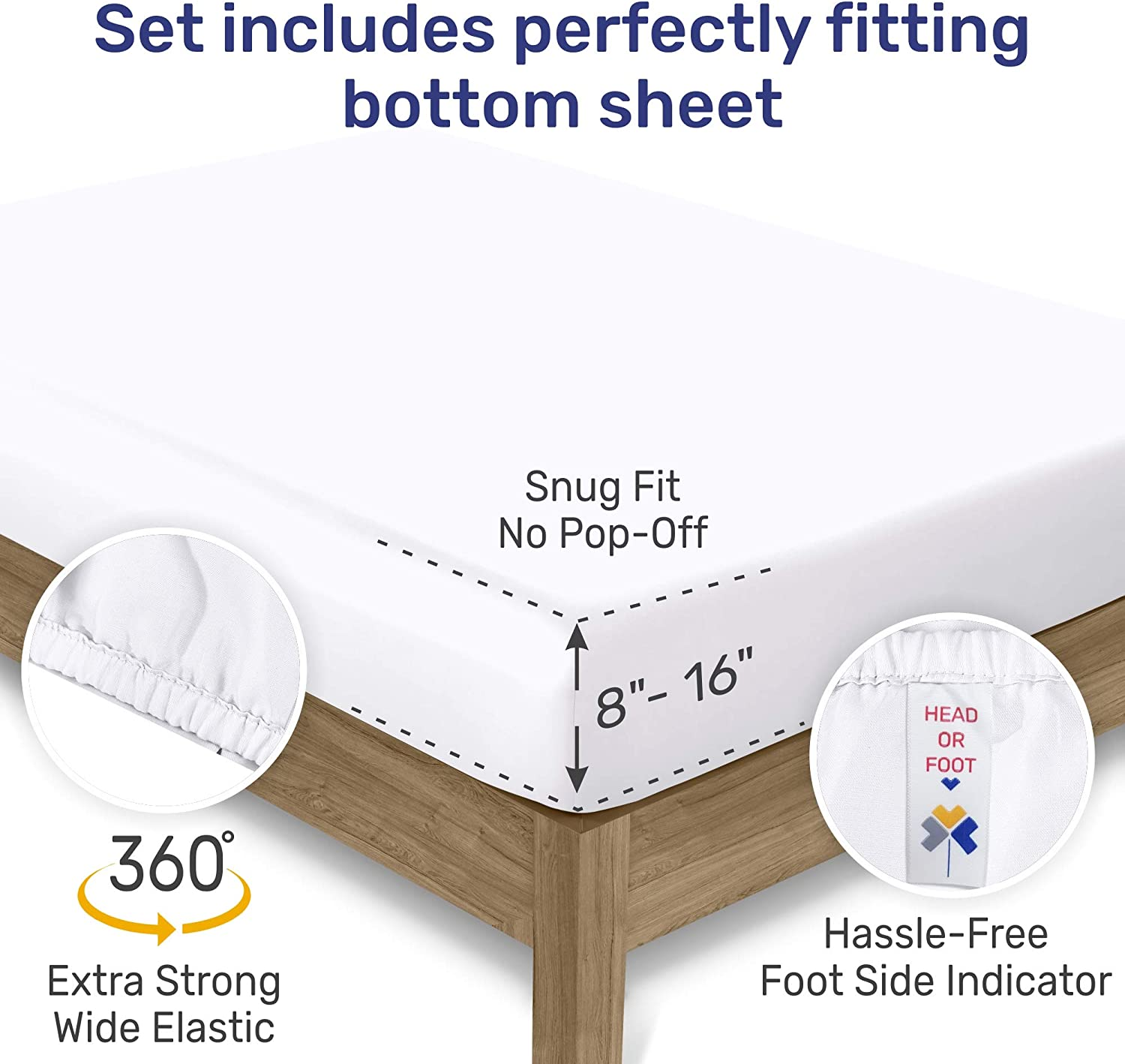 600-Thread-Count Best 100% Cotton Sheets & Pillowcases Set - 4 Pc Pure White Extra Long-staple Combed Cotton Bedding Queen Sheet For Bed, Fits Mattress 16'' Deep Pocket, Soft & Silky Sateen Weave: Home & Kitchen