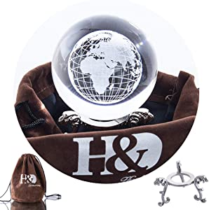 H&D HYALINE & DORA 2.3 inch (60mm) Clear Crystal Glass Marbles Earth Globe World Map Ball with Metal Stand