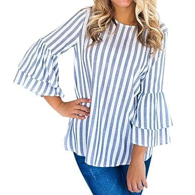 18452182791fd MORCHAN❤Femmes Automne Simple Mode o Cou Long évasé Manches rayé Haut  Chemisier décontracté Tops t-Shirt Cardigan Sweat-Shirt Manteau Blouson  Tunique Pull ...