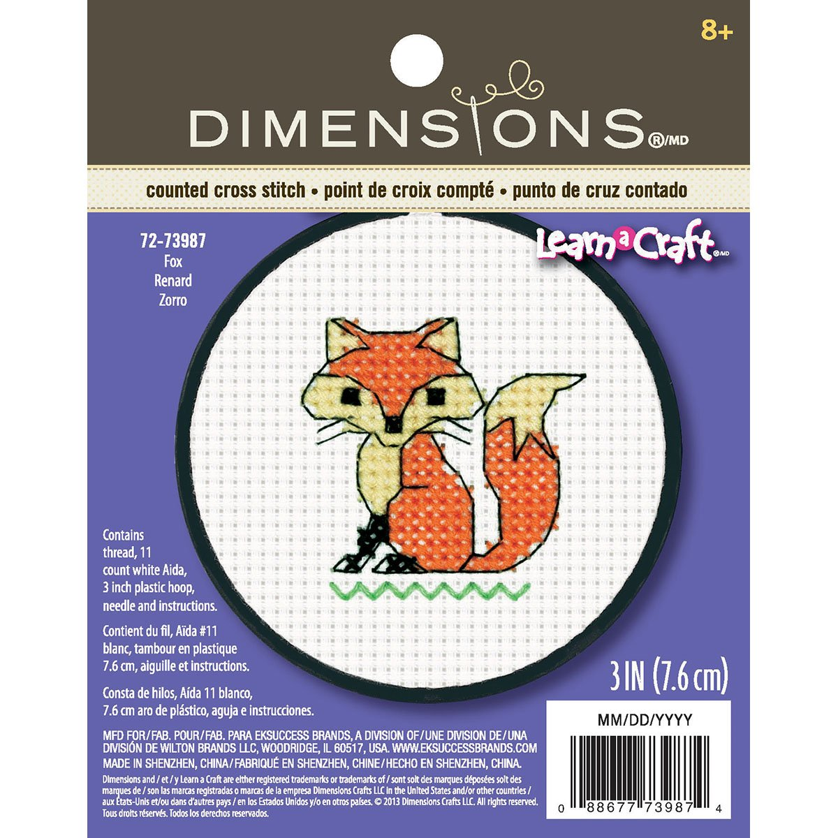 Dimensions 72-73987 Crafts Kids Learn a Craft Counted Cross Stitch, Fox Dimensions Crafts