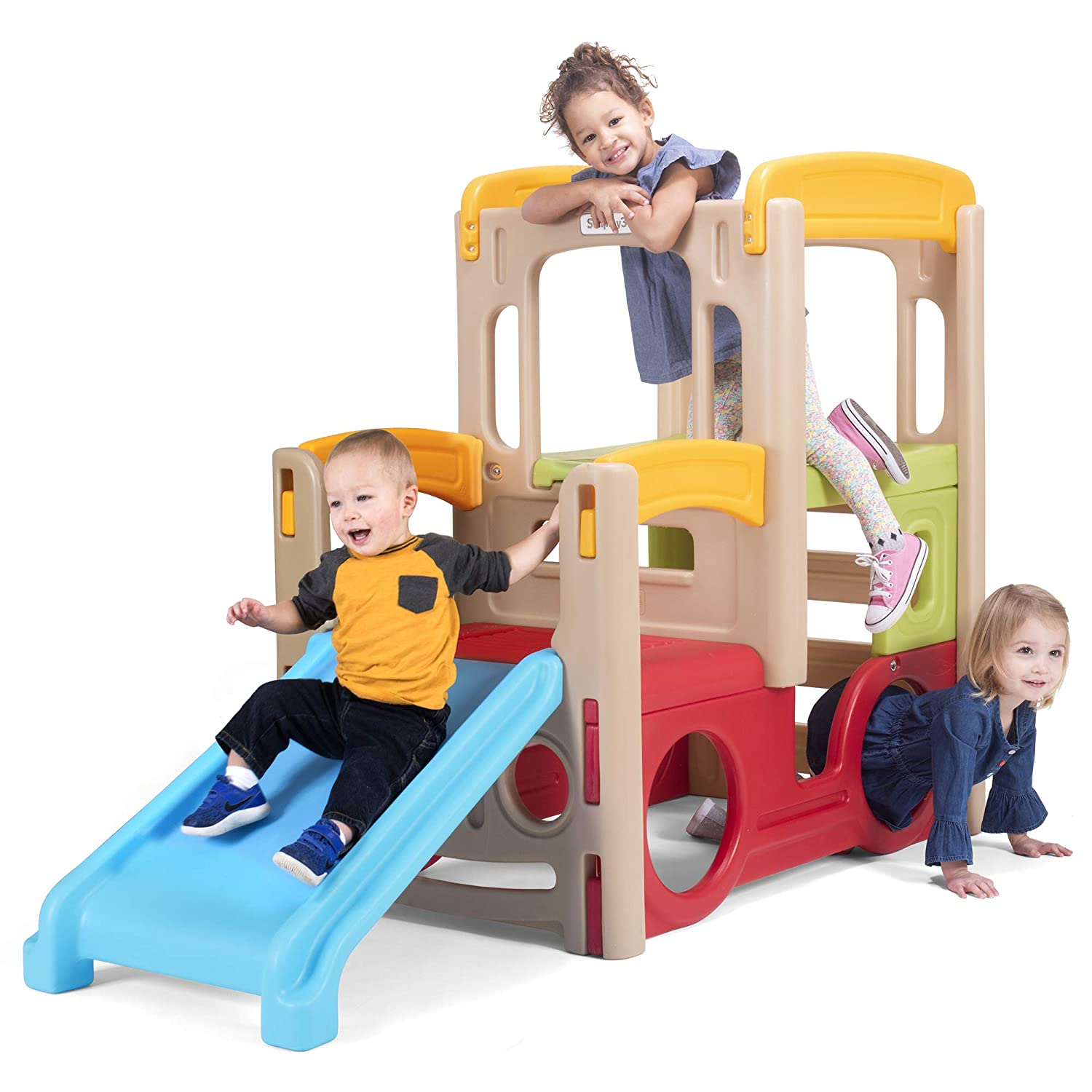 Simplay3 Young Explorers Adventure Climber - Indoor Outdoor Crawl Climb Drive Slide Playset for Children best backyard playset