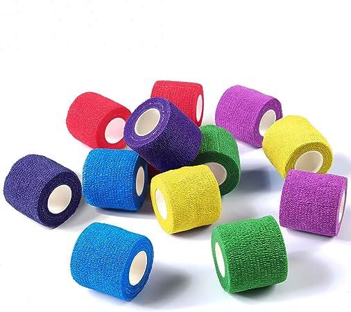 des Houdao 6 rouleaux de bandes auto-adh/ésives bandages pour animaux de compagnie Vet Wrap pour chiens et chevaux Bandages /élastiques coh/ésifs sport 5 m pour la protection des doigts