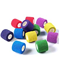 WePet Vet Wrap, Vet Tape Bulk Self-Adherent Gauze Rolls Non-Woven Cohesive Bandage First Aid for Dogs Cats Horses Birds Animals Strong Sports Tape for Wrist Healing Ankle Sprain & Swelling 12 Rolls