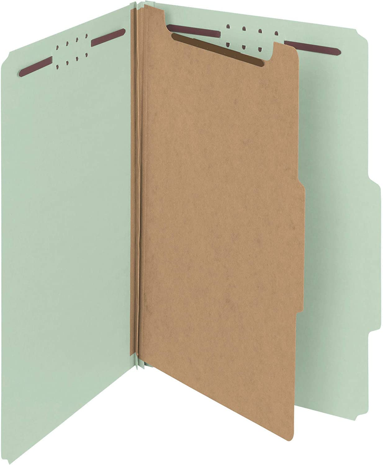 """Smead 100% Recycled Pressboard Classification File Folder, 1 Divider, 2"""" Expansion, Legal Size, Gray/Green, 10 per Box (18722)"""