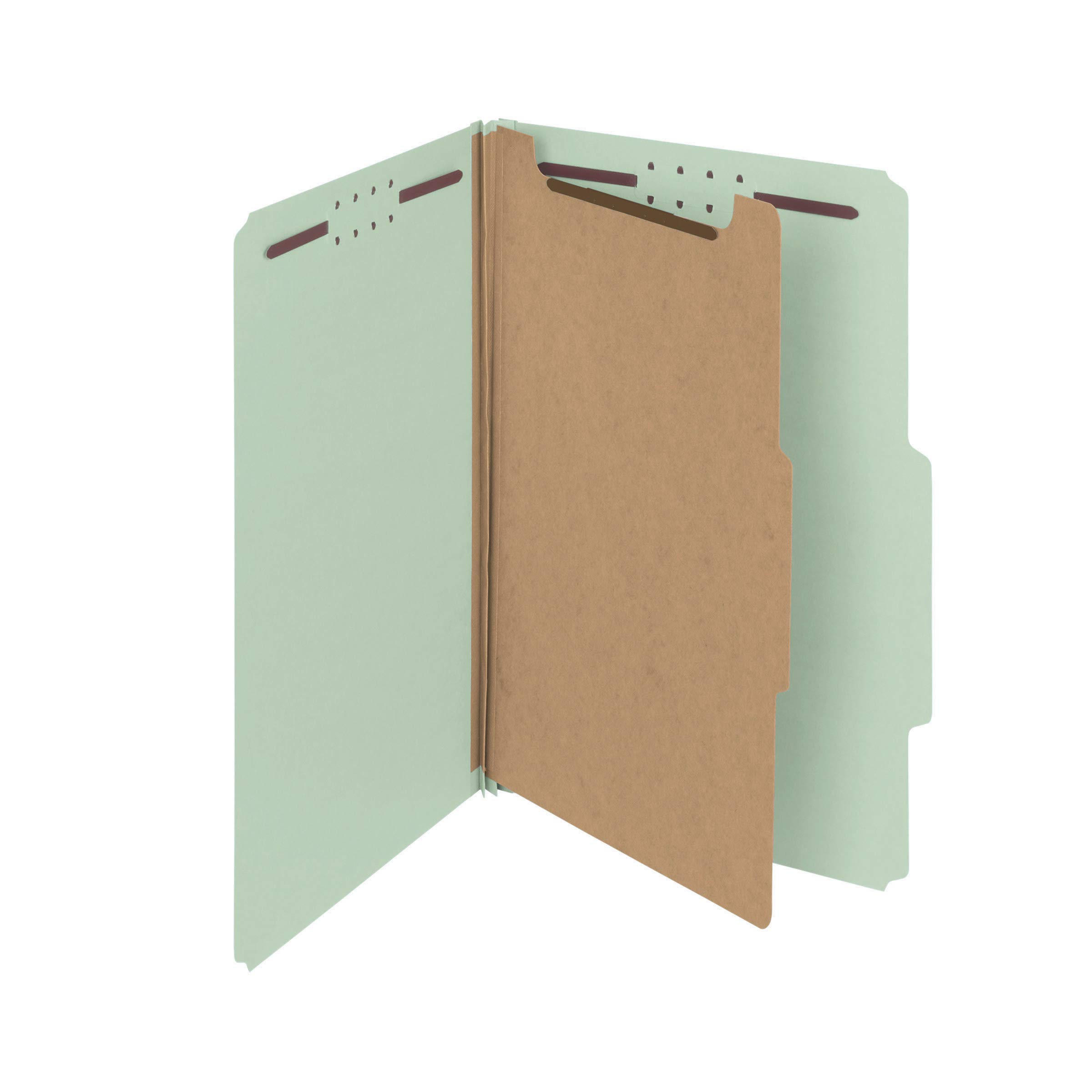 Smead 100% Recycled Pressboard Classification File Folder, 1 Divider, 2'' Expansion, Legal Size, Gray/Green, 10 per Box (18722) by Smead