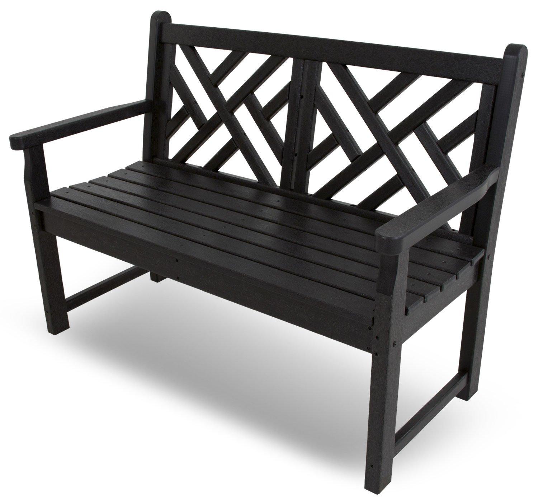 CASA BRUNO Chippendale Gartenbank, 122 cm breit, aus recyceltem Polywood® HDPE Kunststoff, schwarz - kompromisslos wetterfest