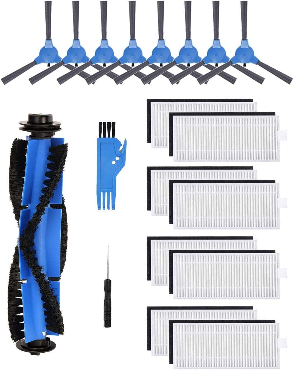 Replacement Parts for Eufy RoboVac 11S, RoboVac 30, RoboVac 30C, RoboVac 15T, RoboVac 15C, RoboVac 12, RoboVac 35C Vacuum Filters, Side Brushes,Rolling Brushes