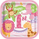 18cm Square Pink Safari 1st Birthday Party Plates, Pack of 10