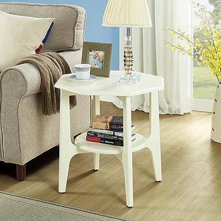 Retro pequeña mesa lateral lateral de café con estante de ...
