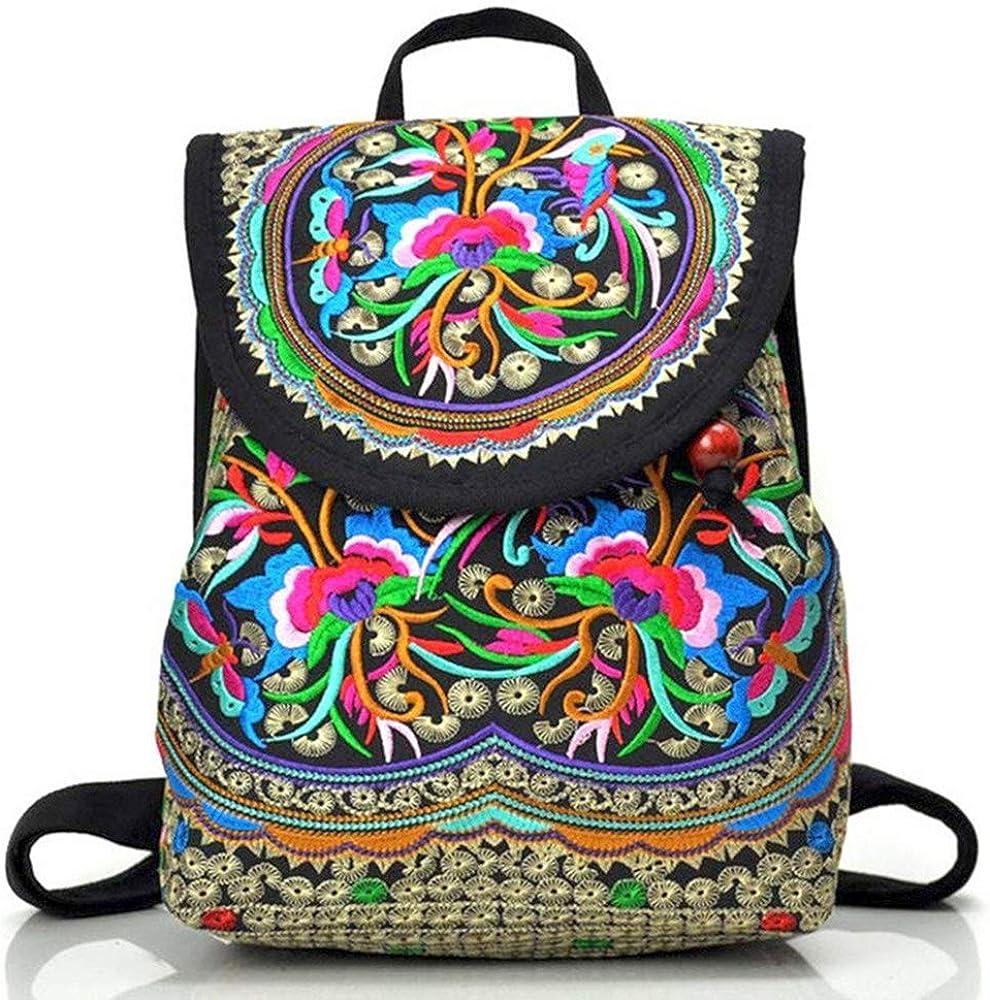 Goodhan Vintage Embroidered Women Backpack Ethnic Travel Handbag Shoulder Bag